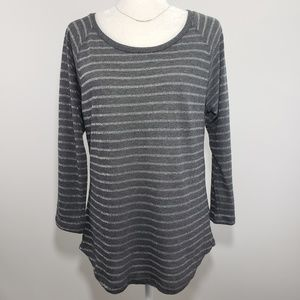 GAP Gray & Silver Striped 3/4 Sleeve Top, Size M